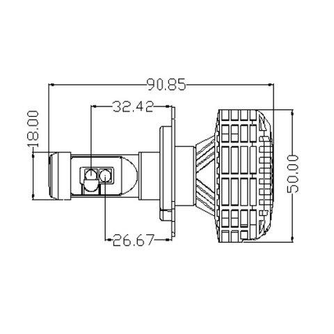 Набір світлодіодного головного світла UP-6HL (H4, 3000 лм, сумісний з CAN-шиною) Прев'ю 3