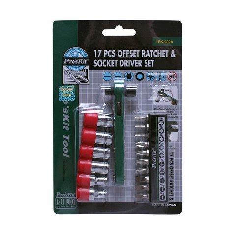 Offset Ratchet & Socket Driver Set Pro'sKit 1PK-202A   (Metric Size) , (17 pcs) Preview 3